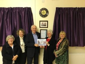 Jean Ford, Dunston Village Hall receiving her certificate
